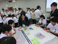 岩浅牧教諭(中央)の指導で高校生と自分たちのアンケート結果を比べる阿南市立椿中生徒