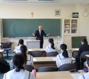 藤女子高で行られた高大連携の講義